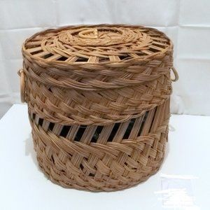 Vintage Woven basket with lid &  handles